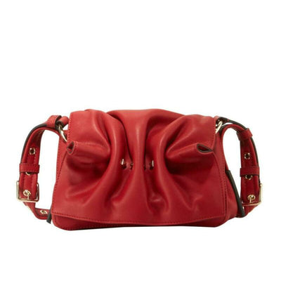 NEW Valentino Rockstud Bloomy Mini Gathered Red Leather Cross Body Bag $1690