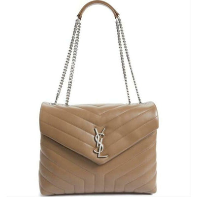 Saint Laurent Monogram Loulou Medium Deep Beige Calfskin Leather Shoulder Bag