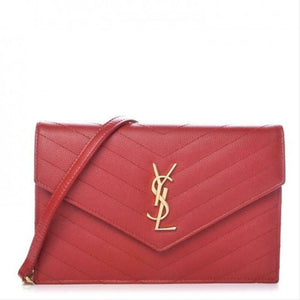 Saint Laurent Chain Wallet Small Monogram Matelasse Red Leather Cross Body Bag