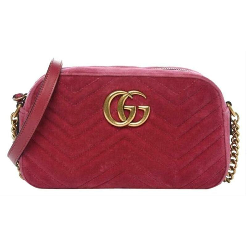 Gucci Shoulder Marmont Matelasse Small Gg Pink Chevron Velvet Cross Body Bag