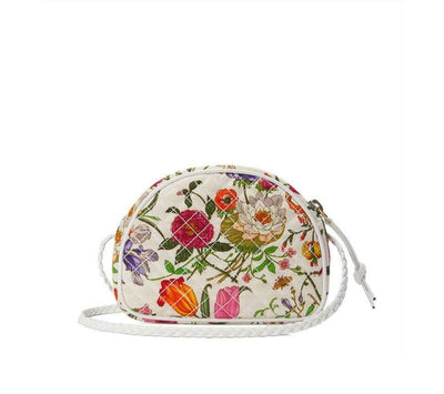 Gucci Ophidia Trapuntata Floral Mini White Canvas Cross Body Bag