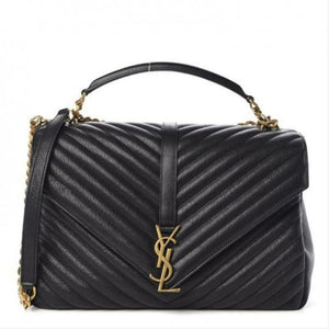 Saint Laurent Matelasse Chevron Large College Monogram Satchel Black Sheepskin