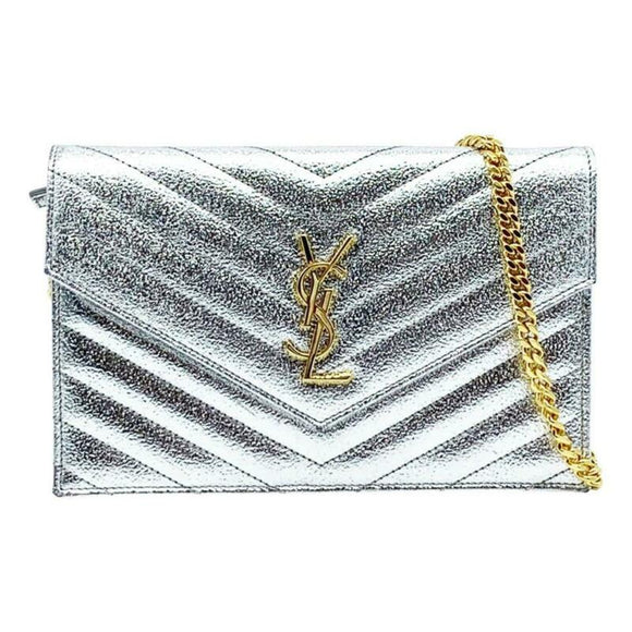 Saint Laurent Chain Wallet Small Envelop Metallic Monogram Silver Leather Cross