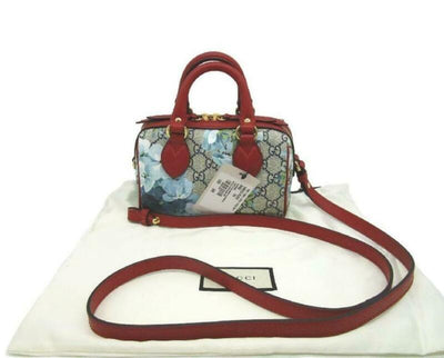 Gucci Boston Bloom Red Canvas Leather Cross Body Bag