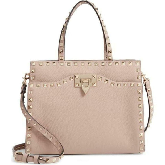Valentino Small Rockstud Satchel Pink Beige Leather Tote