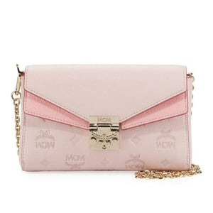 MCM Millie Monogrammed Pink Leather Cross Body Bag