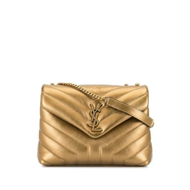 Saint Laurent Monogram Loulou Small Metallic Monogram Gold Leather Shoulder Bag