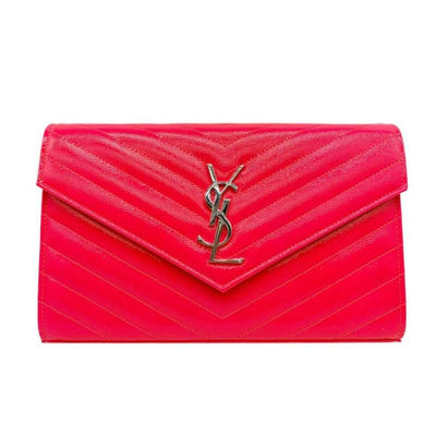 Saint Laurent Chain Wallet Medium Woc Neon Pink Patent Leather Cross Body Bag