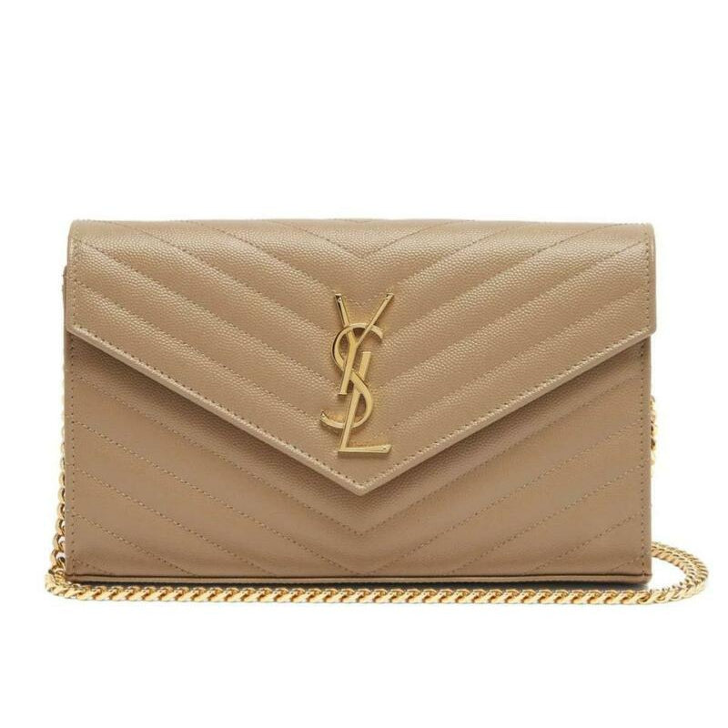 Saint Laurent Monogram Envelope Chain Wallet Medium Beige Leather Shoulder Bag
