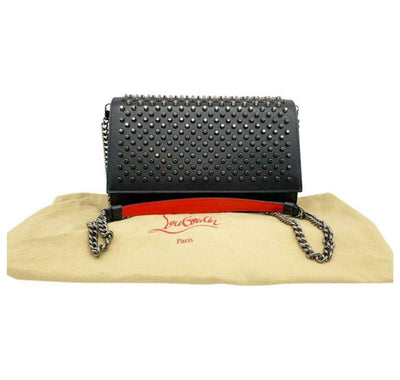 Christian Louboutin Clutch Paloma Spike Black Leather Shoulder Bag