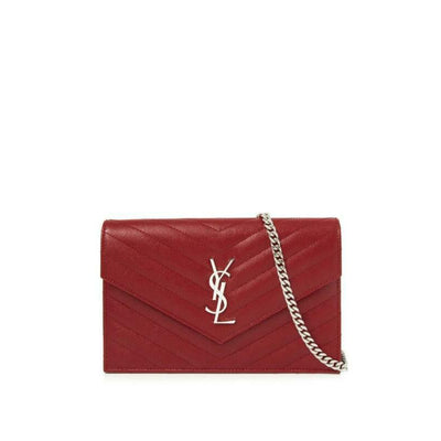 Saint Laurent Chain Wallet Monogram Small Red Leather Cross Body Bag