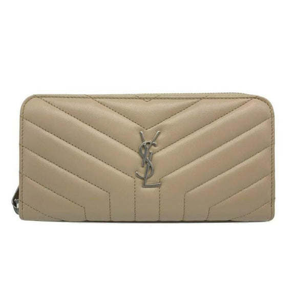 Saint Laurent Dark Beige Monogram Loulou New Matelasse Leather Zip Around Wallet
