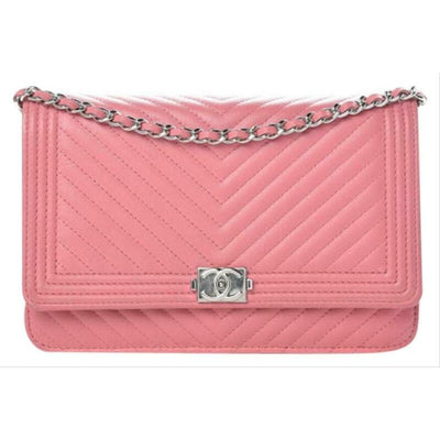 Chanel Boy Wallet on Chain Chevron Quilted Woc Pink Calfskin Leather