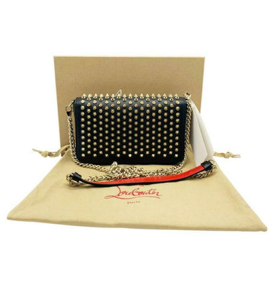 Christian Louboutin Clutch Zoompouch Spiked Black Leather Cross Body Bag