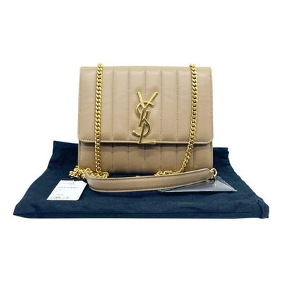 Saint Laurent Vicky Small Wallet On A Chain Monogram Beige Leather Shoulder Bag
