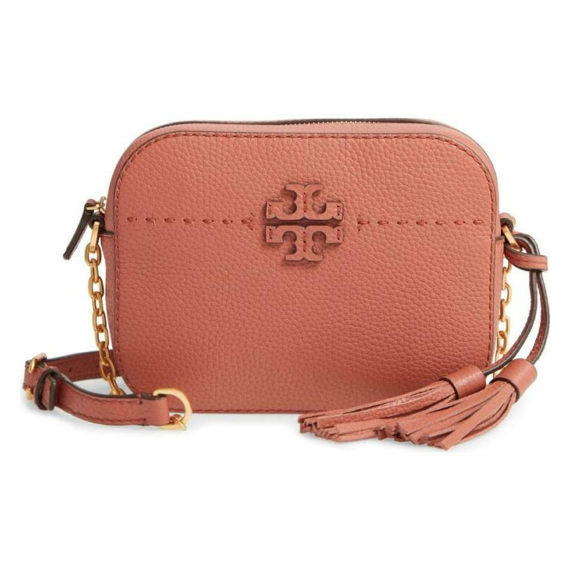 Tory Burch Camera Mcgraw Brown Leather Shoulder Bag