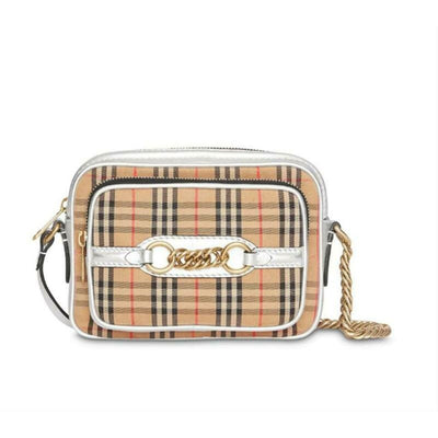 Burberry Camera Vintage Check Link Silver Canvas Cross Body Bag