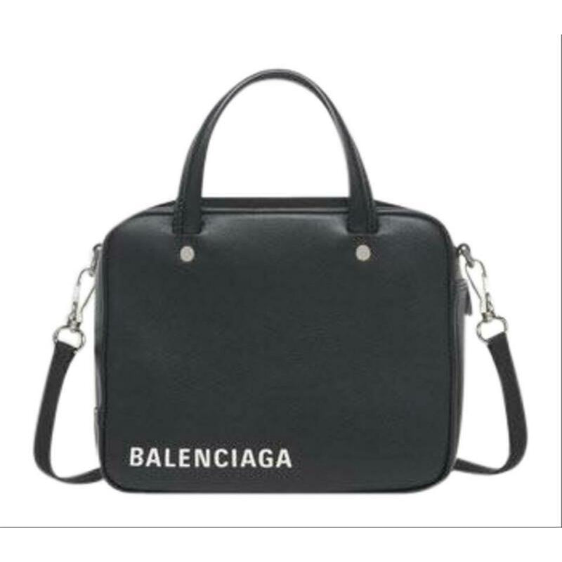Balenciaga Triangle Square Xs Black Leather Cross Body Bag