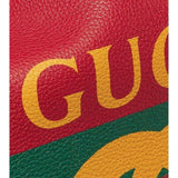 Gucci Drawstring Printed Red Leather Backpack