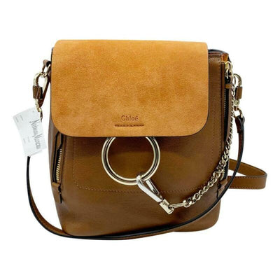 Chloé Faye Small Suede and Tobacco Brown Leather Backpack