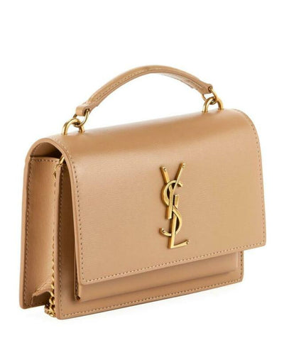Saint Laurent Wallet on Chain Sunset Ysl Monogram Beige Leather Shoulder Bag
