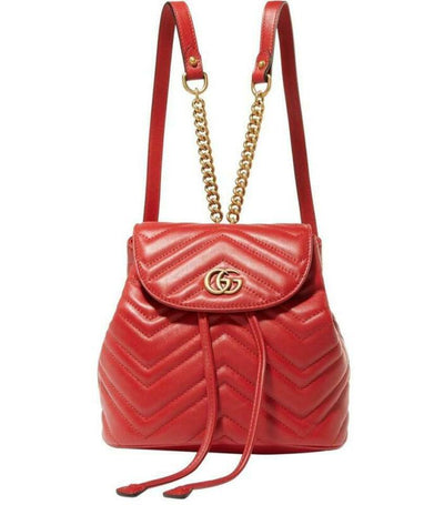 Gucci GG Shoulder Bag Marmont Mini Red Leather Backpack
