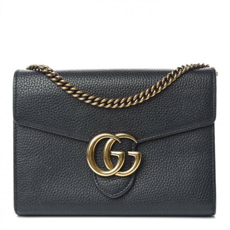 Gucci Chain Wallet Marmont Calfskin Gg Black Leather Shoulder Bag