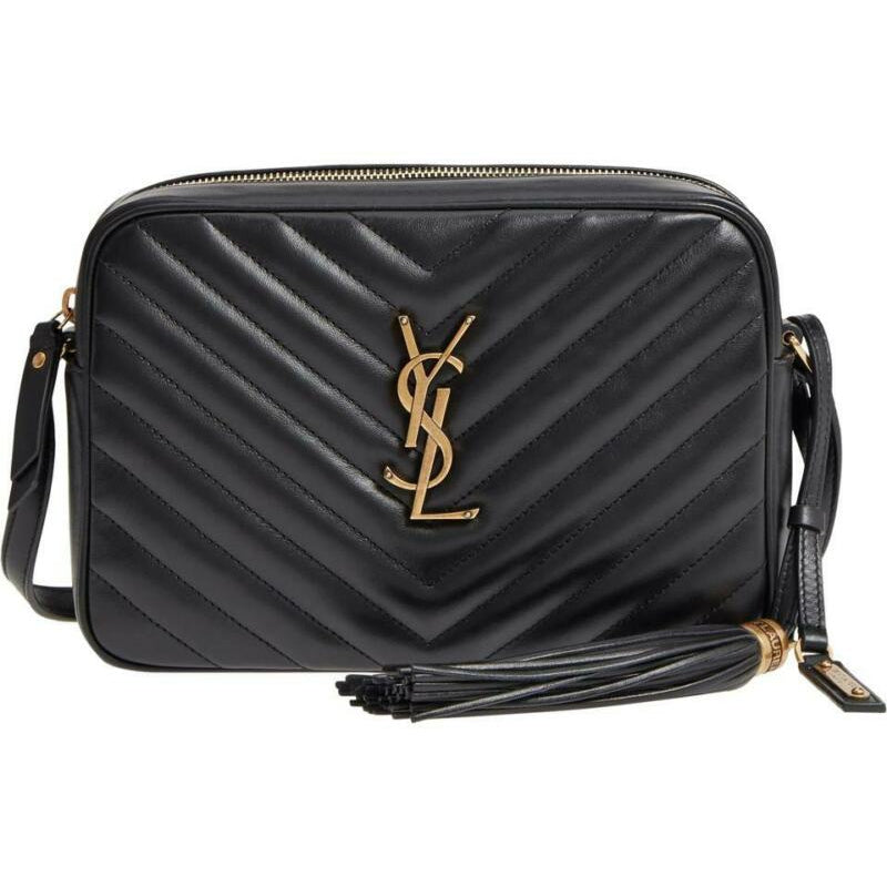 Saint Laurent Monogram Camera Lou Medium Black Calfskin Leather Cross Body Bag