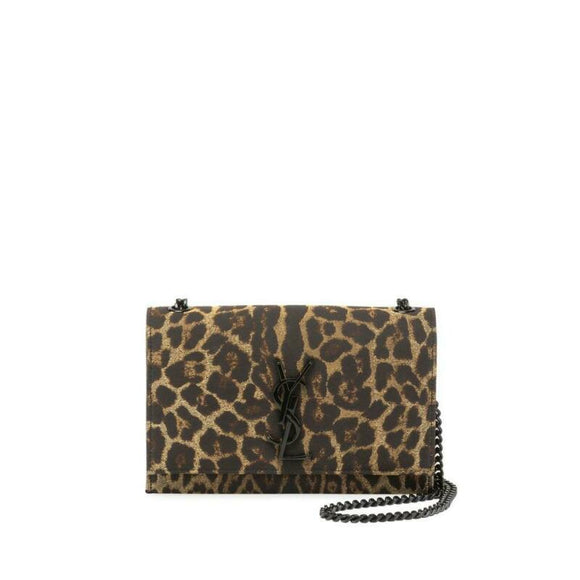 Saint Laurent Monogram Kate Monogram Ysl Small Leopard Jacquard Black Leather