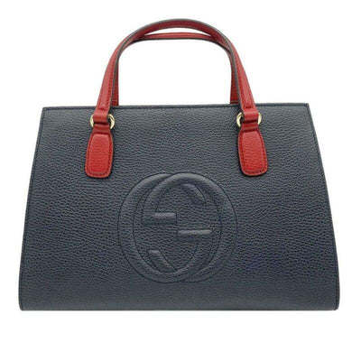 Gucci Soho Convertible Top Handle Satchel Medium Blue White and Red Leather Tote