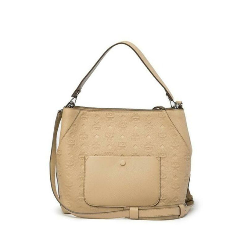 MCM Hobo Klara Monogrammed Beige Leather Shoulder Bag