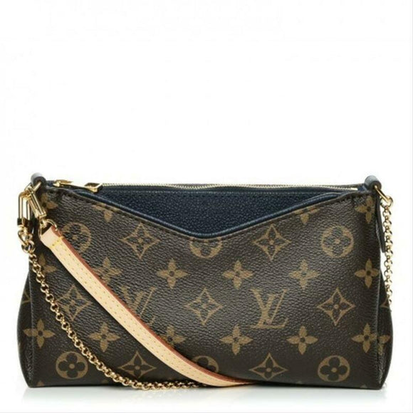 Louis Vuitton Pallas Clutch Marine Chain Brown Monogram Canvas Cross Body Bag