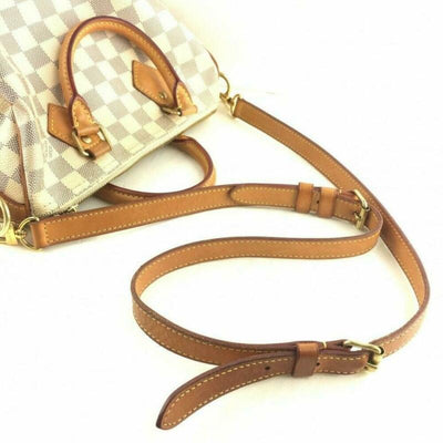 Louis Vuitton Speedy Bandouliere 25 White Damier Azur Canvas Cross Body Bag
