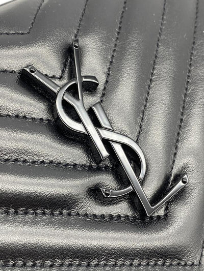 Saint Laurent Camera Crossbody Lou Medium Monogram Ysl Calf Black Leather Shoulder Bag