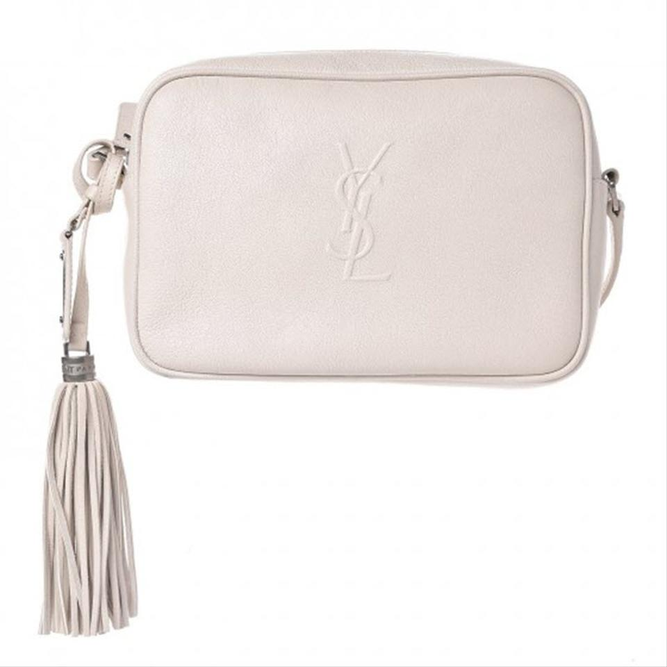 Saint Laurent Camera Lou Lambskin Monogram Small Icy White Leather Shoulder Bag