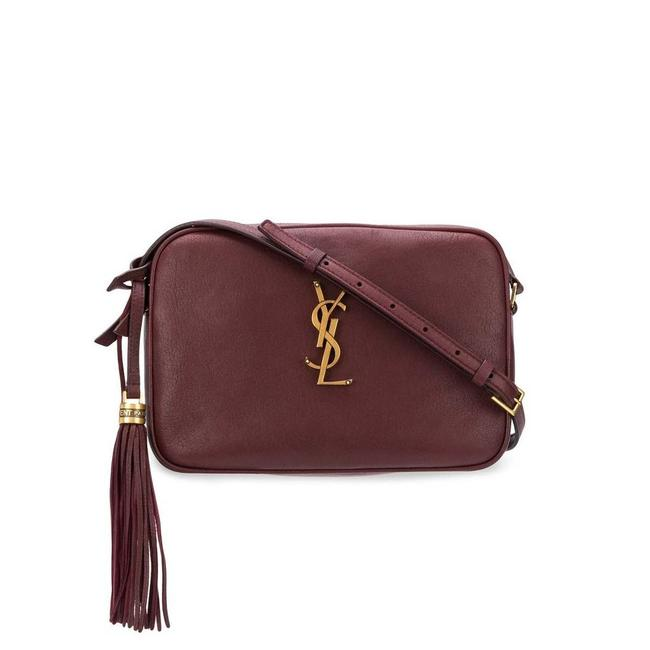 Saint Laurent Camera Lou Medium Smooth Monogram Burgundy Red Leather Cross Body Bag