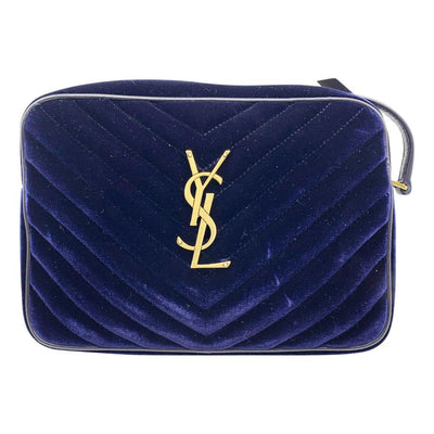 Saint Laurent Camera Lou Medium Ysl Monogram Quilted Blue Velvet Cross Body Bag