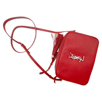 Saint Laurent Camera Lou Smooth Monogram Tassel Red Leather Cross Body Bag