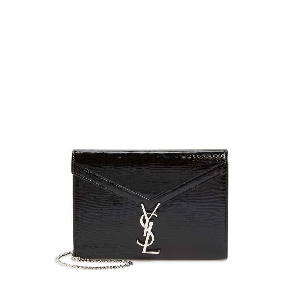 Saint Laurent Cassandre Reptile Embossed Calfskin Wallet On A Chain Black Leather Shoulder Bag