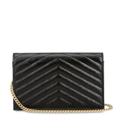Saint Laurent Chain Wallet 2020 Small Envelope Woc Monogram Black Leather Cross Body Bag