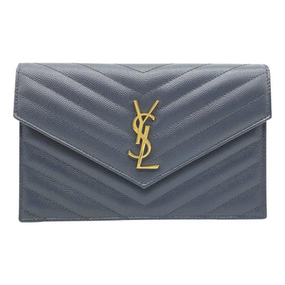 Saint Laurent Chain Wallet Envelope Monogram Dark Smog Grey Leather Shoulder Bag