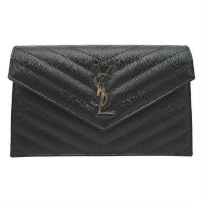 Saint Laurent Chain Wallet Envelope Woc Monogram Black Leather Cross Body Bag