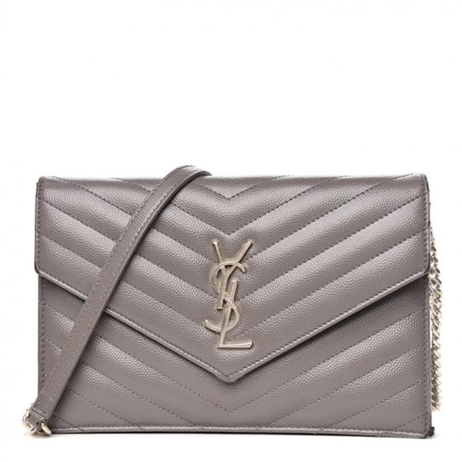 Saint Laurent Chain Wallet Grain De Poudre Matelasse Chevron Monogram Grey Leather Cross Body Bag