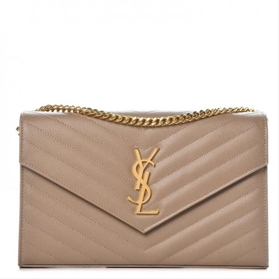 Saint Laurent Chain Wallet Grain De Poudre Matelasse Chevron Monogram Light Taupe Beige Leather Shoulder Bag