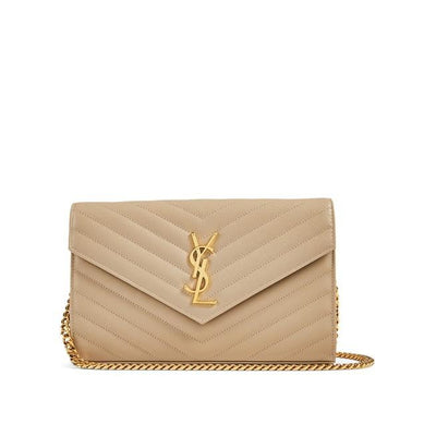 Saint Laurent Chain Wallet Grain De Poudre Matelasse Monogram Beige Leather Cross Body Bag