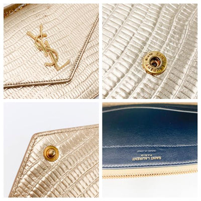 Saint Laurent Chain Wallet Monogram Envelope Small Metallic Gold Lizard Skin Leather Shoulder Bag