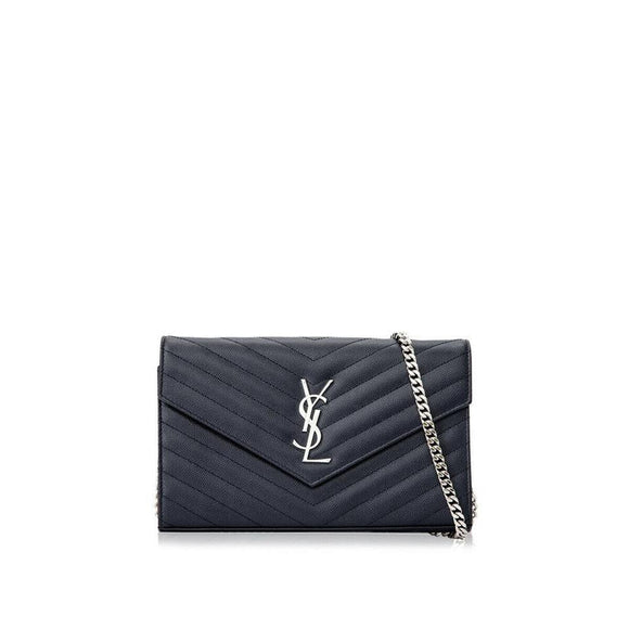 Saint Laurent Chain Wallet Monogram Medium Marine Matelasse Blue Leather Cross Body Bag