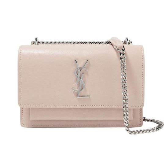 Saint Laurent Chain Wallet Sunset Mini Monogram Pink Calfskin Leather Cross Body Bag