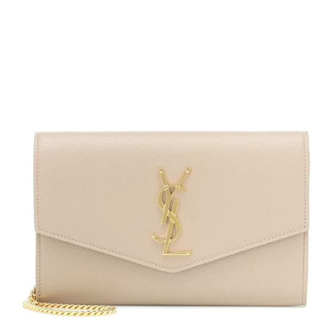 Saint Laurent Clutch Uptown Envelope Beige Leather Cross Body Bag