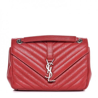 Saint Laurent College Chain Sheepskin Matelasse Chevron Medium Monogram Red Leather Shoulder Bag